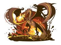 Carattere respirante del drago del fuoco illustrazione vettoriale