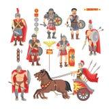 Carattere romano dell'uomo del guerriero di vettore del gladiatore in armatura con la spada o arma e schermo nell'illustrazione a illustrazione vettoriale