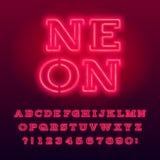 Carattere rosso di alfabeto del tubo al neon Lettere e numeri al neon dei caratteri tipografici con grazie di colore royalty illustrazione gratis