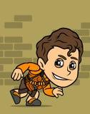 Carattere rubacchiante castana del ragazzo del fumetto illustrazione di stock