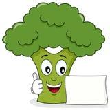Carattere sorridente dei broccoli con l'insegna Fotografia Stock