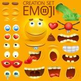 Carattere sorridente giallo del fronte per il vostro modello di scene Grande insieme di emozione illustrazione di stock