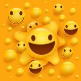 Carattere sorridente giallo del fronte Struttura molecolare Immagine Stock