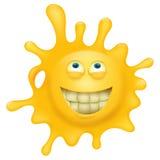 Carattere sorridente giallo della spruzzata del fronte Fotografia Stock
