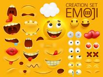 Carattere sorridente giallo di emoji del fronte per il vostro modello di scene Grande raccolta di emozione Fotografie Stock Libere da Diritti