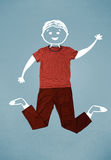 Carattere sorridente sveglio divertente in abbigliamento casual Fotografia Stock
