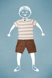 Carattere sorridente sveglio divertente in abbigliamento casual Immagini Stock Libere da Diritti