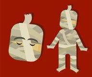 Carattere spaventoso di orrore della mummia per i bambini per Halloween illustrazione vettoriale