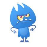 Carattere straniero della creatura del mostro blu lanuginoso divertente del fumetto illustrazione vettoriale