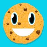 Carattere sveglio del biscotto del cioccolato con il fronte di smiley Immagini Stock