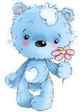 Carattere sveglio dell'orsacchiotto che sta con il fiore, giocante, illustrazione del fumetto isolata su fondo bianco illustrazione di stock