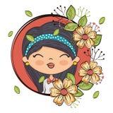 Carattere sveglio della ragazza con la struttura floreale royalty illustrazione gratis