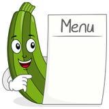 Carattere sveglio dello zucchini con il menu in bianco illustrazione di stock