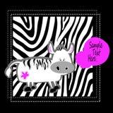 Carattere sveglio di arte dell'Africa dell'illustrazione del fumetto del bambino di vettore animale della zebra Fotografia Stock