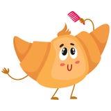 Carattere sveglio e divertente del croissant che pettina i suoi capelli royalty illustrazione gratis