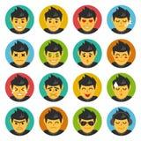 Carattere sveglio, espressioni facciali, emoticon, Emoji Fotografia Stock