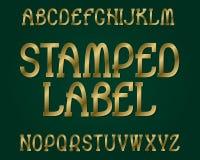 Carattere timbrato dell'etichetta Fonte tipografica dorata Alfabeto inglese isolato Immagine Stock Libera da Diritti