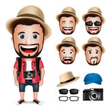 carattere turistico realistico dell'uomo 3D che porta vestito casuale con la macchina fotografica Fotografia Stock