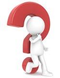 carattere umano 3d con un punto interrogativo rosso Fotografia Stock Libera da Diritti