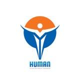 Carattere umano astratto nella forma del cerchio - vector l'illustrazione di concetto del modello di logo Segno creativo della ge Fotografie Stock Libere da Diritti