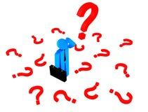 carattere umano 3d molte domande di rosso Immagine Stock Libera da Diritti