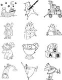 Caratteri 1 del libro di coloritura Immagine Stock