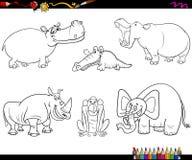 Caratteri animali che colorano pagina Immagine Stock