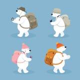 Caratteri artici dell'orso polare, viaggiatore con zaino e sacco a pelo Immagini Stock Libere da Diritti