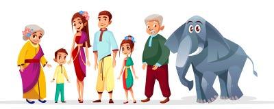 Caratteri asiatici della famiglia tailandese del fumetto di vettore messi illustrazione di stock