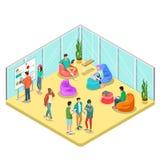 Caratteri casuali isometrici piani della gente 3d illustrazione vettoriale