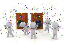 caratteri 3D che fanno festa e che ballano accanto ai grandi altoparlanti Fotografie Stock