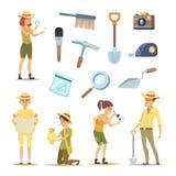 Caratteri degli archeologi e vari manufatti storici royalty illustrazione gratis