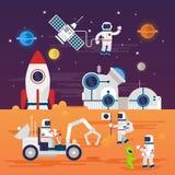 Caratteri degli astronauti messi nello stile piano del fumetto Fotografie Stock Libere da Diritti