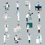 Caratteri degli scienziati messi illustrazione vettoriale