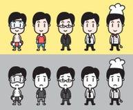 Caratteri degli uomini del fumetto di vettore messi Immagine Stock