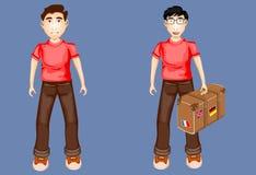 Caratteri dei ragazzi in magliette rosse che tengono valigia Fotografia Stock
