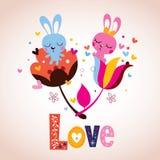 Caratteri del coniglietto nell'amore Fotografia Stock Libera da Diritti