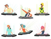 Caratteri del DJ Illustrazioni di vettore delle mascotte del fumetto di musica royalty illustrazione gratis