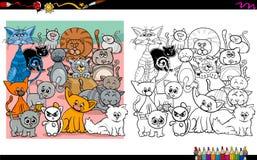 Caratteri del gatto che colorano pagina Immagini Stock Libere da Diritti