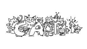 Caratteri del gatto di scarabocchi, partito di carnevale, fumetto animale sveglio, linea nera e fondo bianco, vettore del modello illustrazione di stock