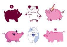 Caratteri del maiale con differenti arti sveglie illustrazione di stock