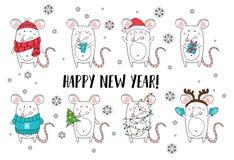 Caratteri del ratto di Natale e del nuovo anno Illustrazione semplice degli animali di Natale per le cartoline d'auguri, i calend illustrazione vettoriale