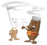 Caratteri del sigaro e della sigaretta del fumetto Fotografia Stock Libera da Diritti