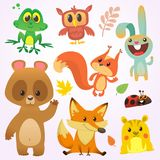 Caratteri dell'animale della foresta del fumetto Illustrazione di vettore Grande insieme dell'illustrazione degli animali del ter illustrazione vettoriale
