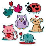 Caratteri dell'animale di giorno di biglietti di S. Valentino Fotografia Stock Libera da Diritti