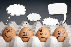 Caratteri dell'uovo del pallone di pensiero Fotografie Stock Libere da Diritti