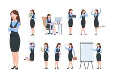 Caratteri della donna di affari Donna professionale dell'ufficio, femminile nelle pose differenti di attività economica Fumetto p illustrazione vettoriale