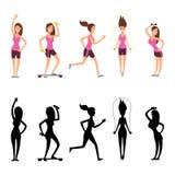Caratteri della donna di sport Vector le siluette femminili di forma fisica isolate su fondo bianco illustrazione vettoriale