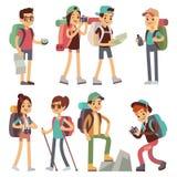 Caratteri della gente dei turisti per l'escursione ed il trekking, concetto di vettore di viaggio di festa illustrazione di stock