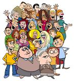Caratteri della gente del fumetto nella folla immagine stock libera da diritti